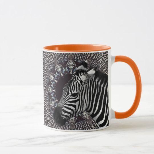 Zebra Art Orange Combo Mug
