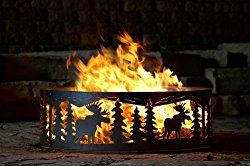Campfire Fire Ring w Moose Cutout Design – Solid Steel (48 in. Dia.)