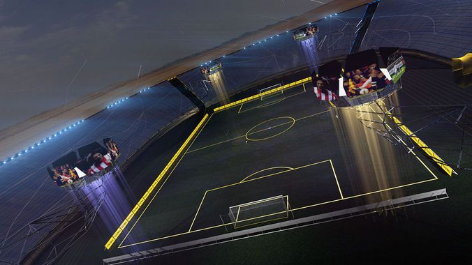 stadium football soccer ball game glow hi tech future electric plasma field glossy architect championship goal