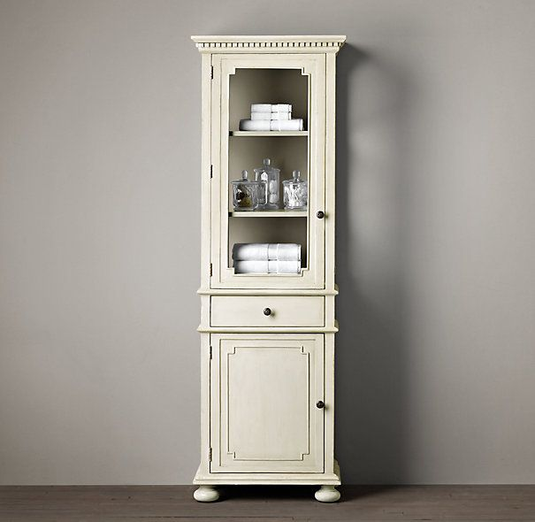 St james medium bath cabinet antiqued white for Restoration hardware bathroom cabinets