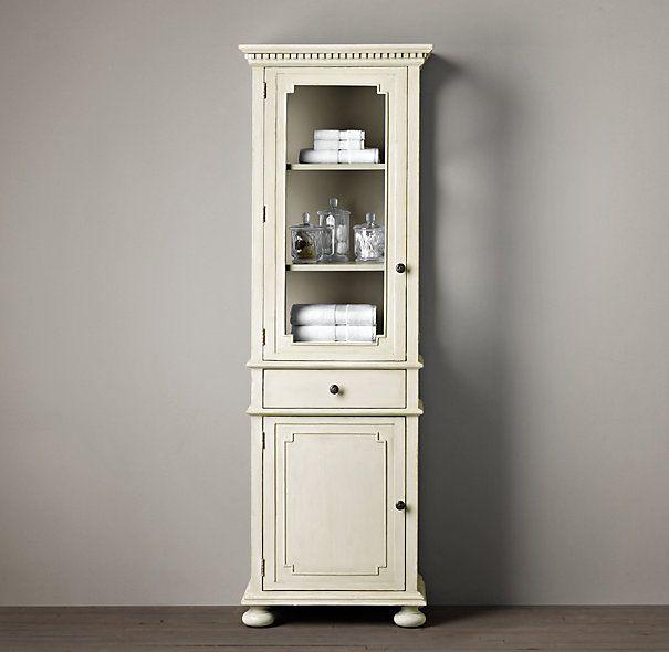 St James Medium Bath Cabinet Antiqued White