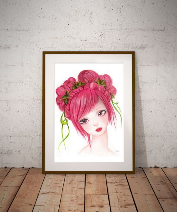 Drawing of a girl Pink wall decor fashion illustration