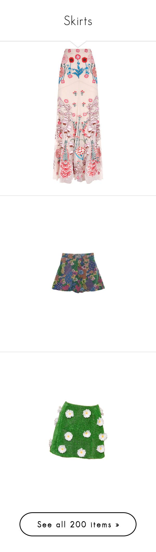 """Skirts"" by taught-to-fly19 on Polyvore featuring skirts, long skirts, long pink skirt, ankle length skirts, temperley london skirt, maxi skirt, bottoms, shorts, rustyzipper e vintage trunks"