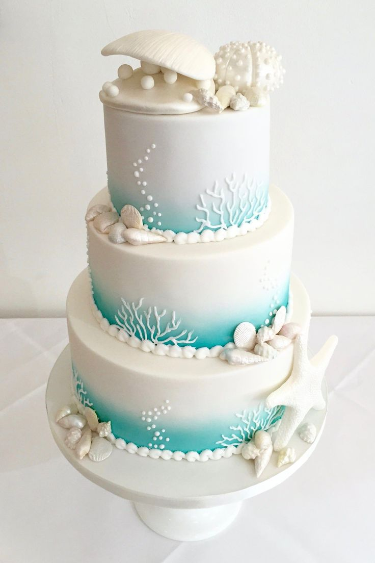 Strandhochzeitstorte – Sweetie Darling Cakes #cakedecoratingdesigns   – Kris and Karl's Wedding