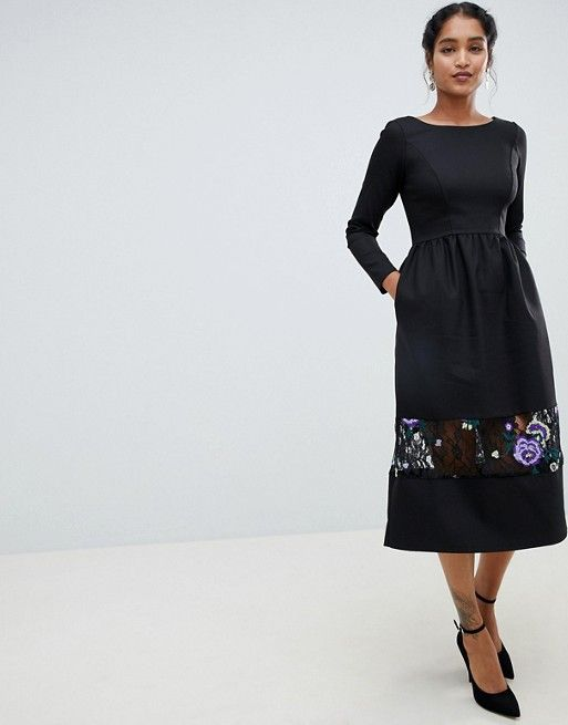896296afb9 Closet London long sleeve midi dress with embrodiered detail   Things I  Want!!   Midi dress with sleeves, Long sleeve midi dress, Dresses