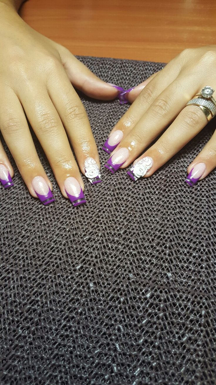 Purple French and 3D Flowers !