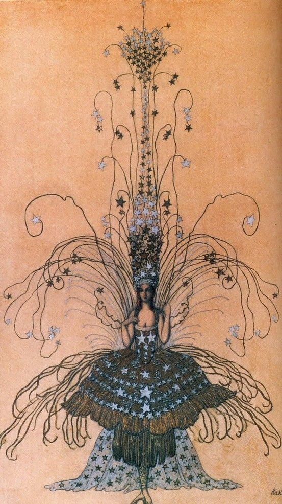 Leon Bakst drawing for the Queen of the night costume, 1922 by cristina