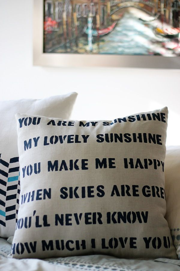 Definitely putting this on my to-do list. Recreating Anthropologie {Stenciled Pillow} | Two Delighted