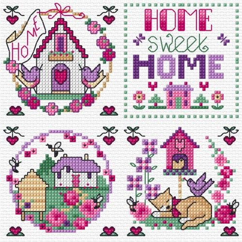 LJT19C Home Sweet Home | Lesley Teare Needlework and Cross Stitch Chart Designs