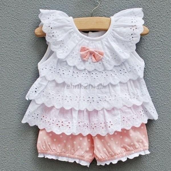 Bebé Infantil Niña Disfraz Con Volantes Camiseta Tops + Dots Pantalones 2 Piezas Ropa Trajes 0-2y