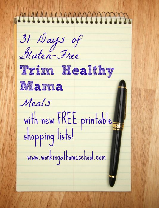 Trim Healthy Mama  31 days of meals shopping list
