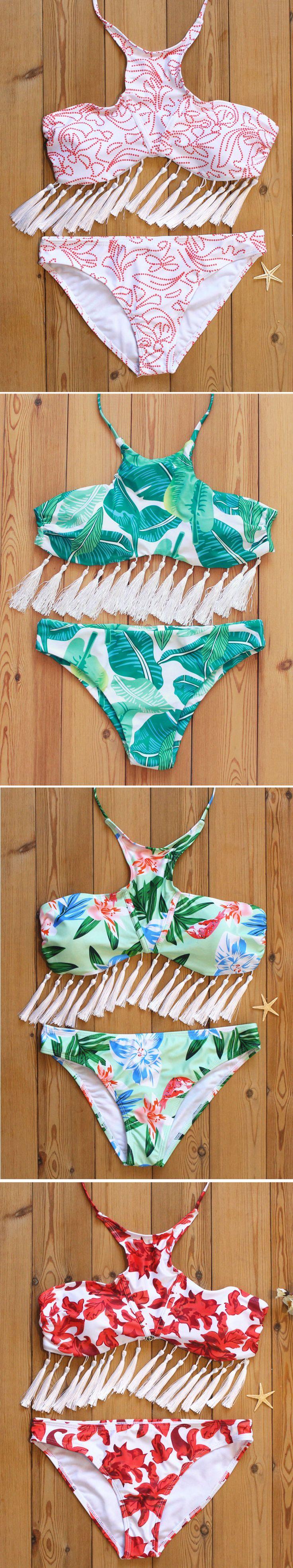 Sexy Tassel Halter Backless Printed Elastic Bikini Swimwear cool summer