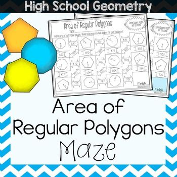 This is a maze composed of 11 area of Regular Polygons problems.  It is a self-checking worksheet that allows students to strengthen their skills at solving for area in a regular polygon when only given either the Apothem or Radius.