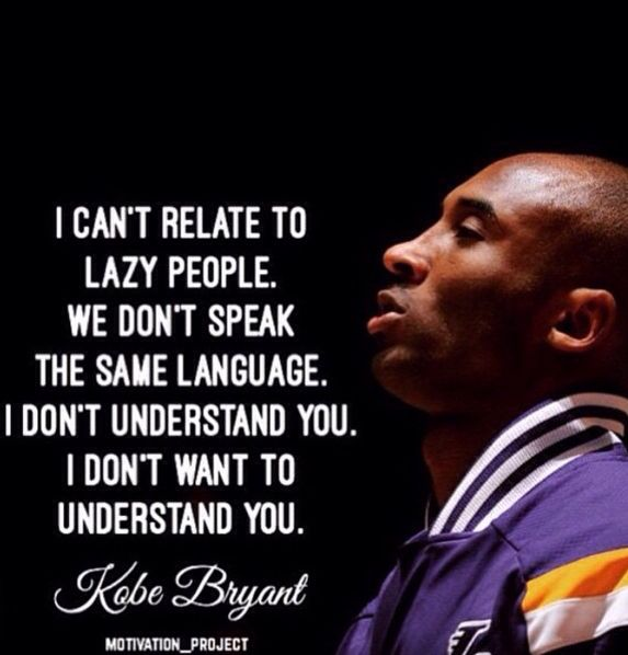 What a legacy, loved the last game this week. Agree so much on this point of view #nevergetlazy Kobe Bryant