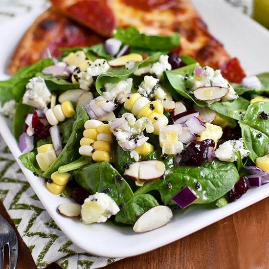 Summer Spinach Salad with Lemon Poppyseed Dressing is full of fresh summer fruits and vegetables with a snappy, sweet-tart dressing!