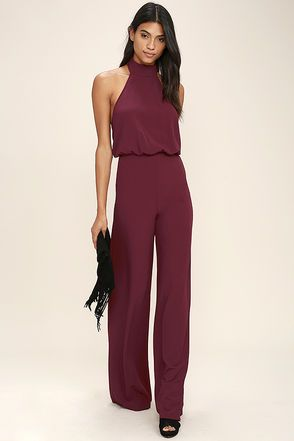 Moment for Life Wine Red Halter Jumpsuit