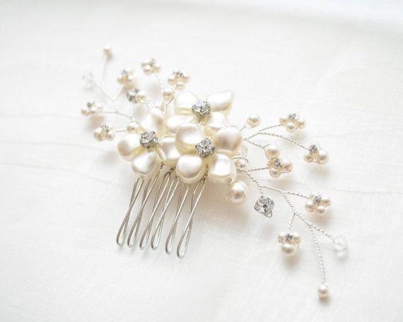 Nupcial peine peine del pelo perla peluca por SarahWalshBridal