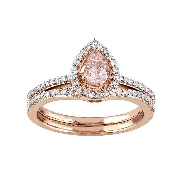 10k Rose Gold 1/3 Carat T.W. Diamond U0026 Morganite Teardrop Engagement Ring  Set,