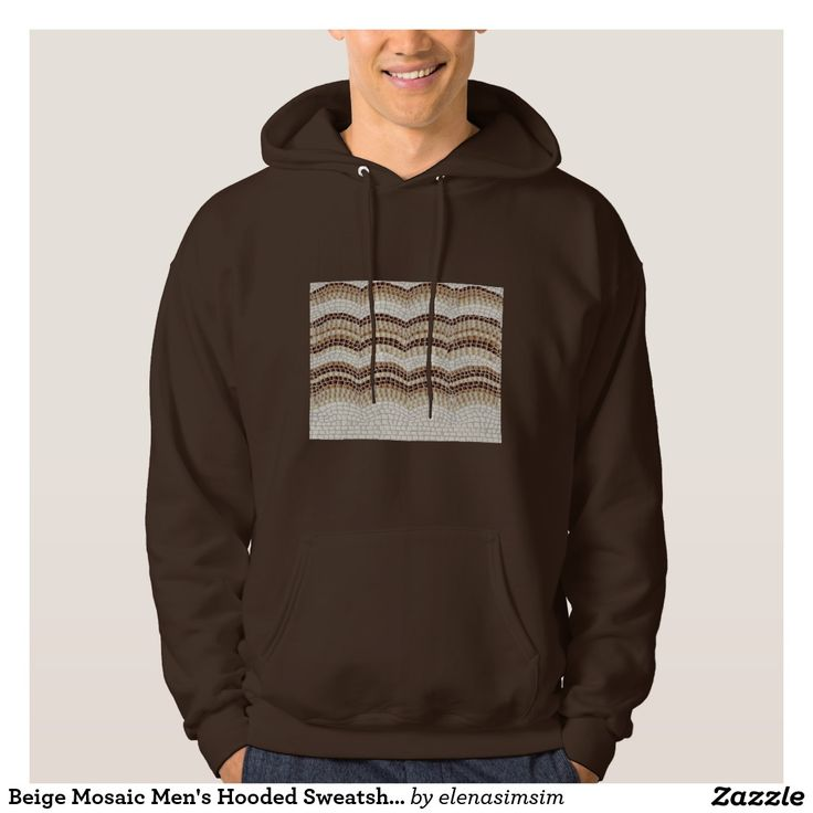 Beige Mosaic Men's Hooded Sweatshirt