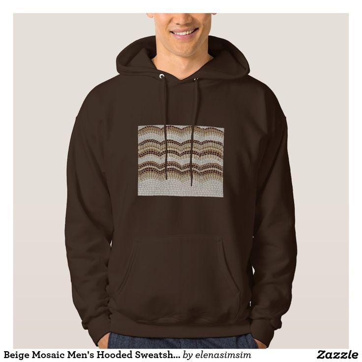 Beige Mosaic Men's Hooded Sweatshirt