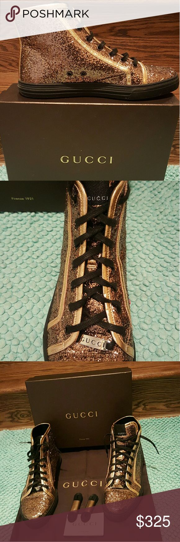 Gucci Glitter High Top Sneakers Gorgeous Gucci copper colored high top sneakers with Gucci laces.  Also included:  extra pair of laces, soft brown Gucci travel shoe bag, original Gucci box.  Size 10.5.  Worn twice.  Excellent condition. Gucci Shoes Ankle Boots & Booties