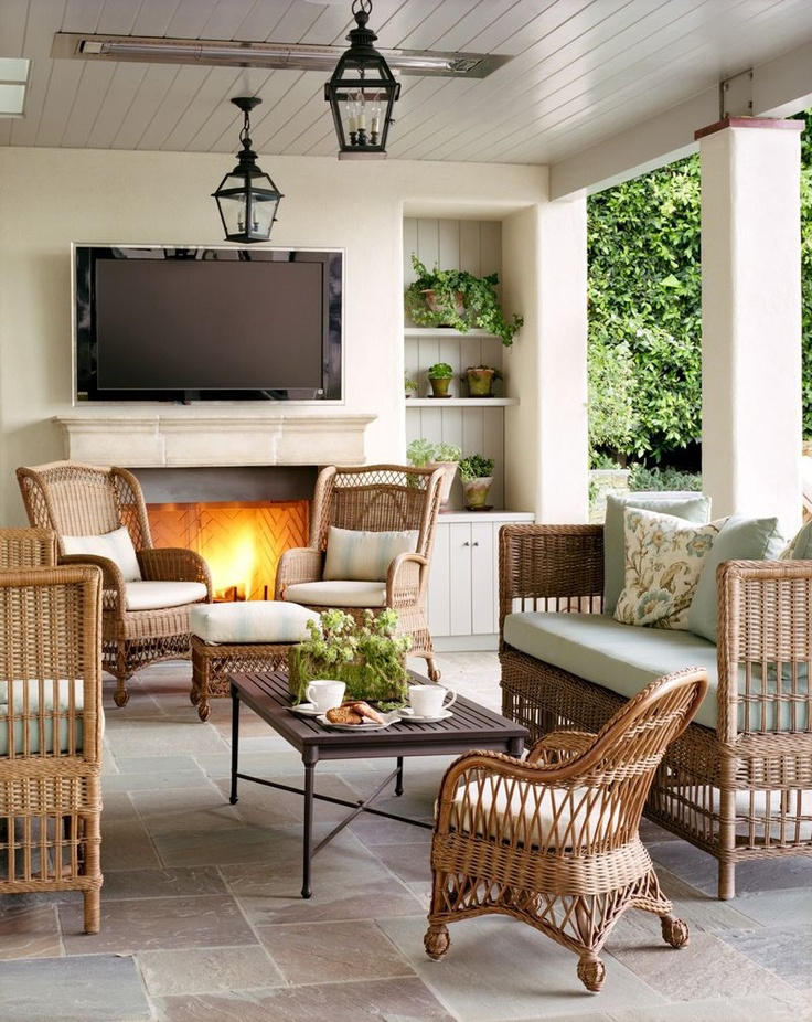 Porch with fireplace and TV 229 best