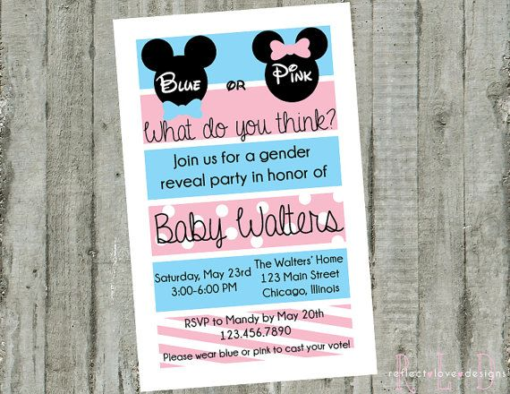 Gender Reveal Party Invitation Mickey Mouse Minnie Mouse Digital Printable File