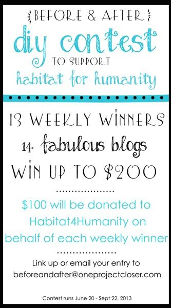Come link up your Before and After DIY projects for a chance to win $50 for yourself and $150 for Habitat for Humanity!  If you don't have a blog you can email your photos to Jocie- click for details!