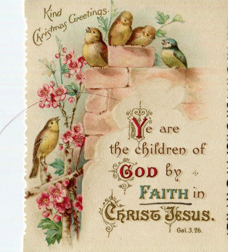 Victorian Religious Christmas Card ,Small Birds And Quote