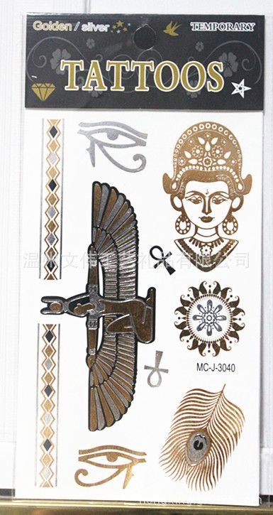 Флэш-тату металлического золота серебра временные татуировки пляж секс продукты бронзовый египет орел глаза перо цепочка тела передача