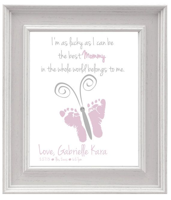 Personalized Mother's Day Gift - Butterfly Baby footprint Art -DIY Keepsake Art, Personalized Print, Printable PDF