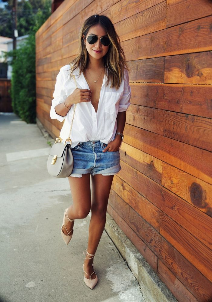 Sincerely Jules || Mgemi Flats. Lace up ballerinas, Chloé drew bag, Vintage Levi's shorts, white button down, summer look.