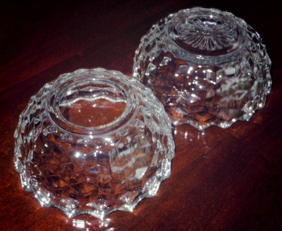 2 Pi COLONY CUBE VOTIVE Crystal Candle Bowl Holder Dish Clear Scalloped Edges Heavy Clear Cubist Sta