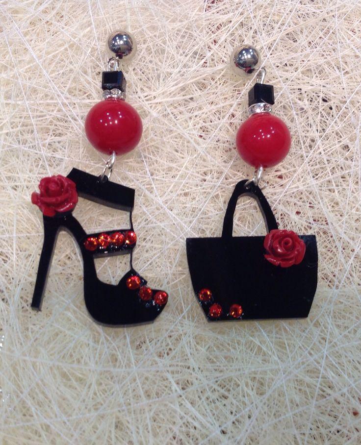 Orecchini scarpe e borsetta, Plexiglass