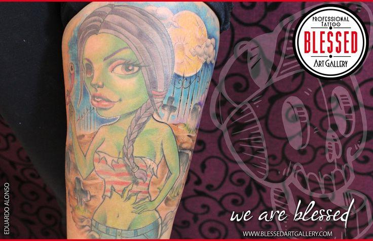 Complemento de cementerio realizado por Eduardo Alonso para tatuaje de chica zombie