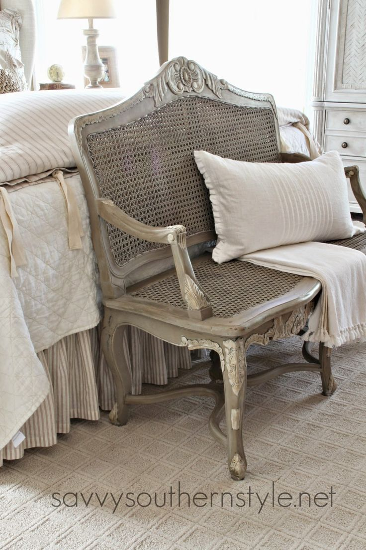 Savvy Southern Style: French Bench Makeover, layers of paint and wax @bHome.us