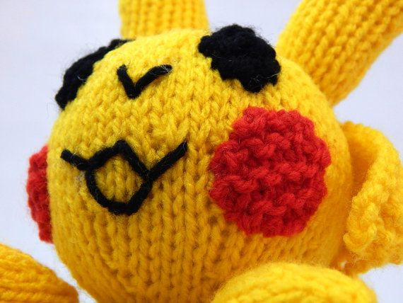 PIKACHU POKEMON hand knitted Pokemon toy hand by MadeWithAltitude