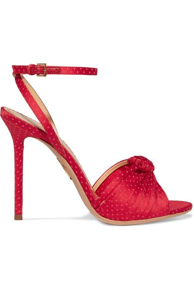 Heel measures approximately 110mm/ 4.5 inches Red satin Buckle-fastening ankle strap Made in Italy