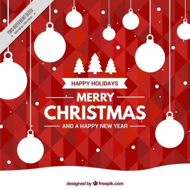 Geometric red background with christmas balls Free Vector