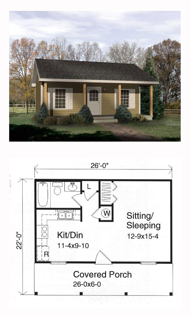 Tiny House Plan 49127 | Total Living Area: 416 sq. ft., 1 bedroom and 1 bathroom. #tinyhouse