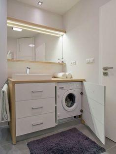 Meuble pour machine à laver esthétique et fonctionnel en 18 idées gain de place