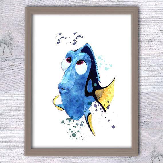 Dory Finding Nemo, Dory Poster, Disney decor, Nautical print, Nursery décor, Shower gift, Dory Fish, Finding Nemo, Watercolor, Animation V22