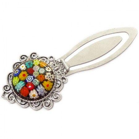 Boekenlegger van sierlijk bewerkt zilverkleurig metaal met kleurrijke bloemen!