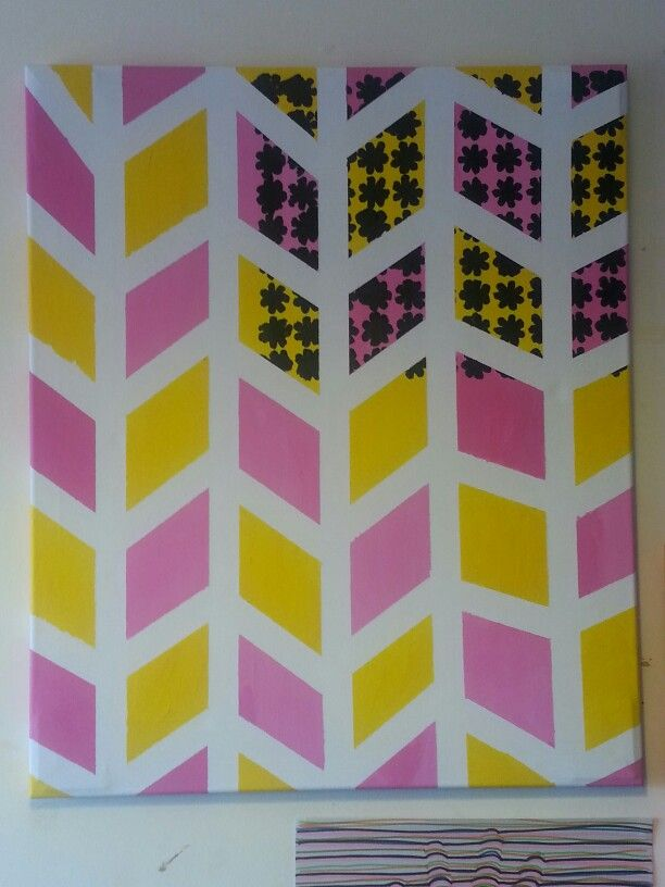 Surface pattern canvas painting . Floral pattern . Pink yellow and black