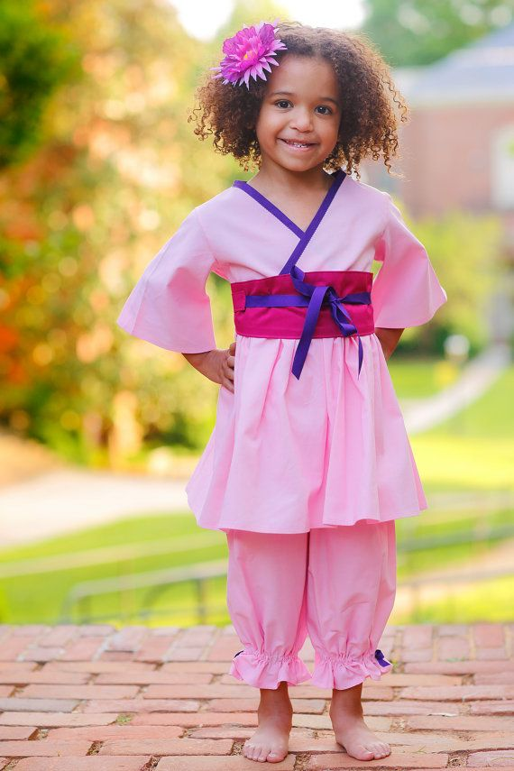 Mulan Birthday - Mulan Costume - Pink Outfit - Bloomer Set - Birthday Outfit Girl - sizes 2T to 7 years