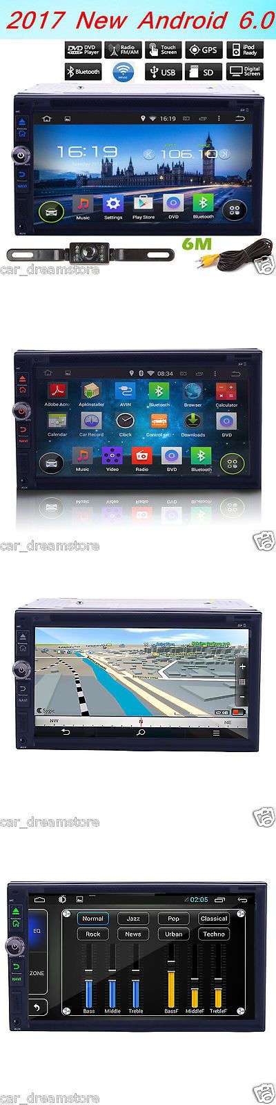 Video In-Dash Units w GPS: 7 Double 2Din Android 6.0 Quad-Core Car Gps Stereo Radio Dvd Player Wifi+Camera BUY IT NOW ONLY: $228.97