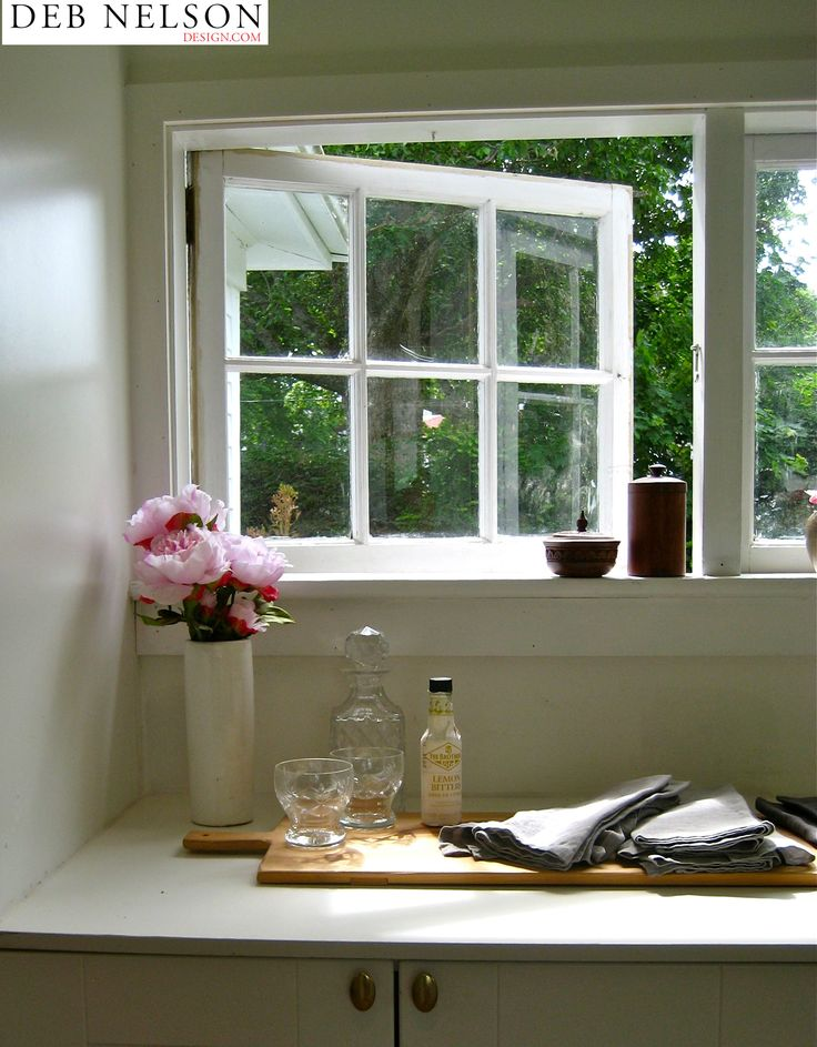 Kitchen window open in the summer