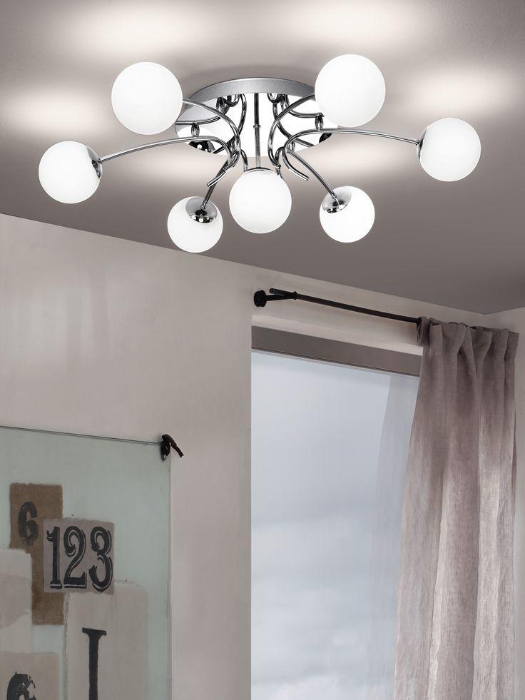 Eglo Lighting / Gambo / Chrome & Opal Glass Seven Lamp Flush Ceiling Light