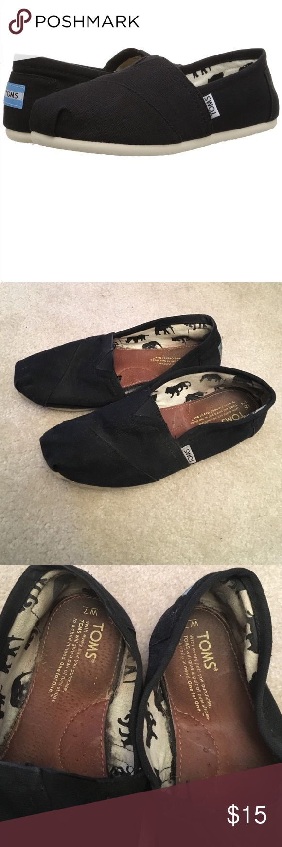 Toms classic black slip ons Never worn without socks! TOMS Shoes Sneakers