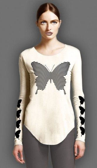 Black Butterfly Ivory long sleeve tee